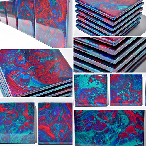 Scintillant Metallics-Ceramic Coasters-Set of 6 - front view