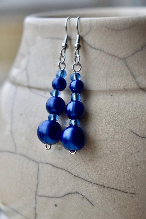 Blue beas earrings