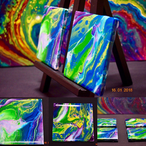Spring Ceramic Coasters - Set of Four - Acrylic Pour - Epoxy Resin Finish