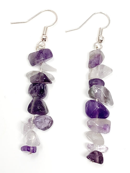 Real Amethyst Dangle earrings Front View