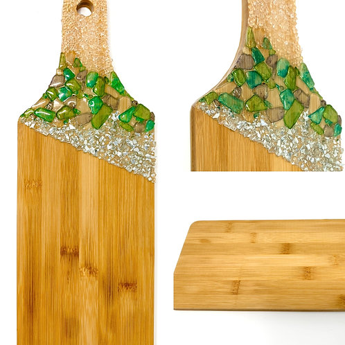 Charcuterie Board with sea glass front view