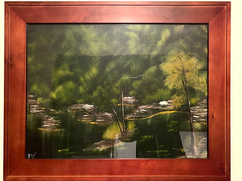 Marshy woods oil painting front view with frame