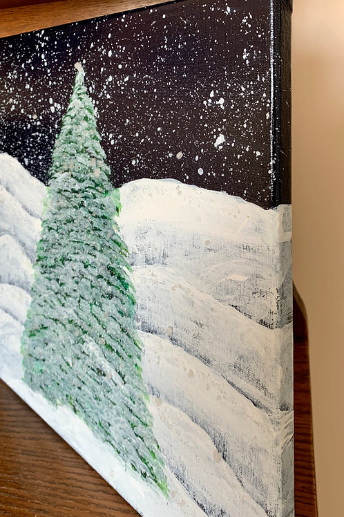 Christmas tree in snow original acrylic side view