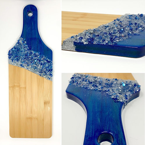 Phthalo Blue- embellished Resin on Bamboo Charcuterie board front view