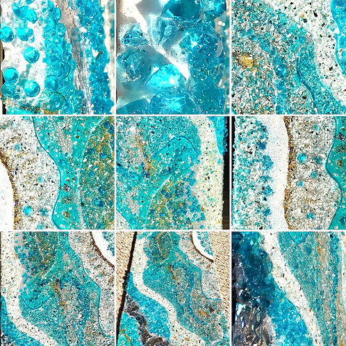 """Aqua - Resin Geode Style  12""""x24"""" stretched canvas front view"""