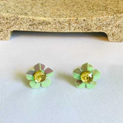 Metallic Green Flower post earrings