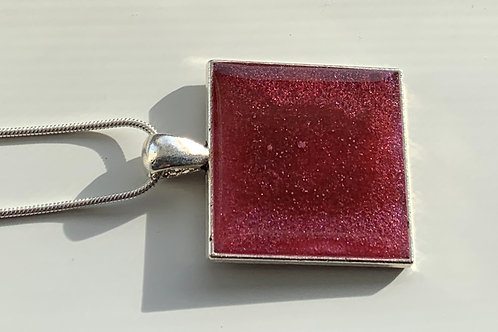 Cherry red mica resin pendant necklace front view