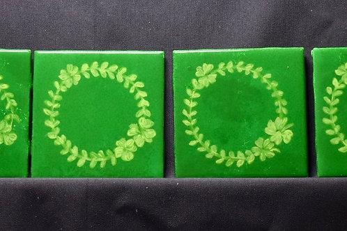 Irish 4 Leaf Clover Ceramic Coasters - Green