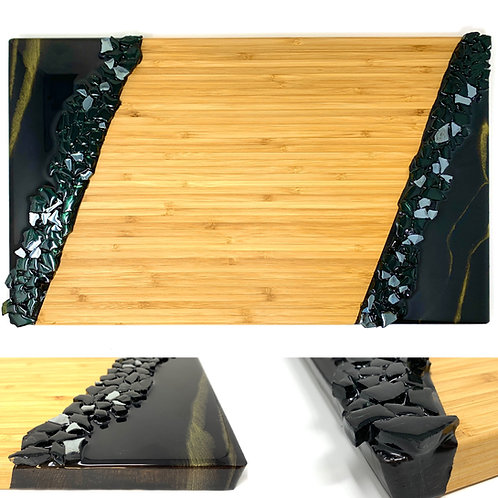 Charcuterie board Black and Gold Dual ends front view