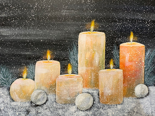 Christmas candles acrylic painting