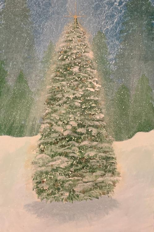 Christmas Evergreens - Original Acrylic Painting