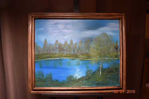 Tranquil Mountain Lake - Oil Painting front view