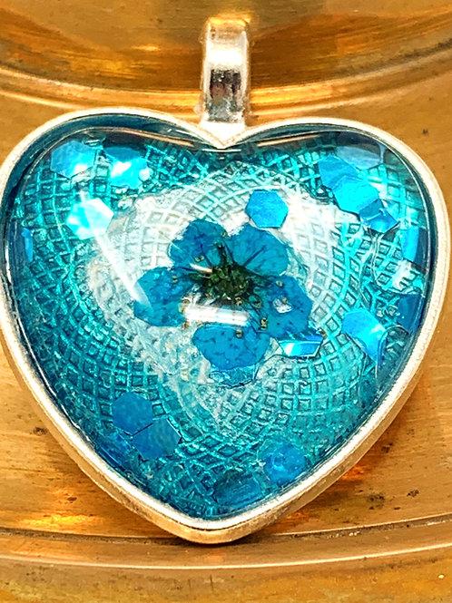 Blue Flower Pendant front view