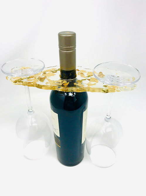 Wine Butler - Clear with Metal Gilding side view