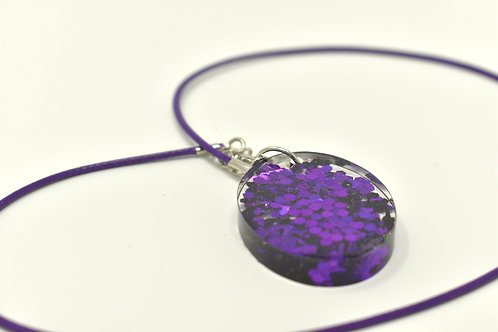 Purple metallic resin pendant front view