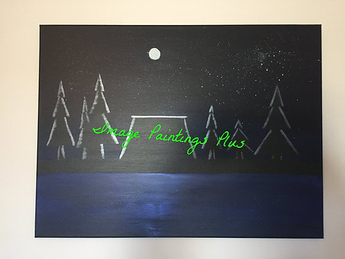 Moonlit Solace - Acrylic  Painting front view