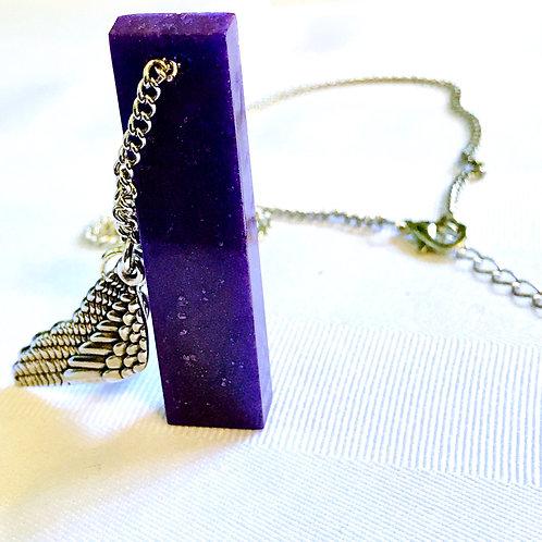 Angel wing purple pendant