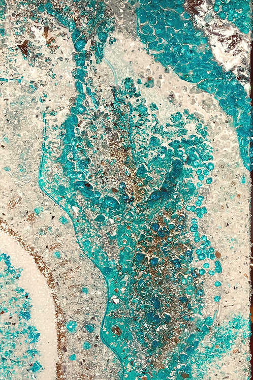 "Aqua - Resin Geode Style  12""x24"" stretched canvas"