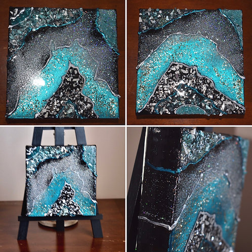 Resin Geode on Black - set of 2 - Front View
