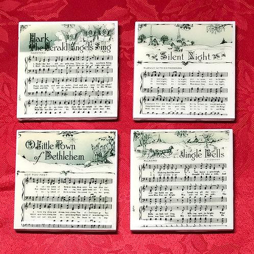 Christmas Sheet Music Coasters - Set of 4