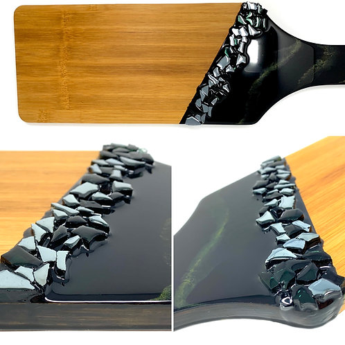 Black and Gold Marbled - Charcuterie Resin with Black Fire glass front view