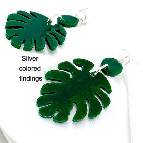 Monstera Leaf shape resin earrings - silver color front view
