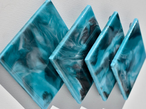 Ceramic Coasters-Blue Silver-Epoxy Resin Pour