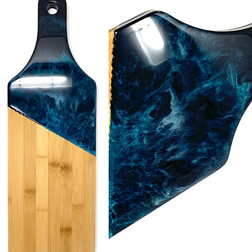 Teal Waves - Resin on Bamboo Charcuterie board front view