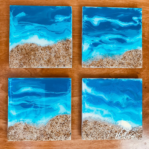 Sandy Beach and waves coasters front view