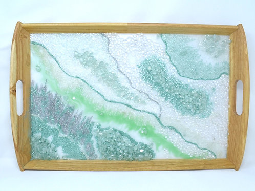 Minty Green Resin Tray front view