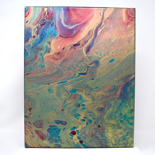 Dancing Colours -11x14 Acrylic Pour front view