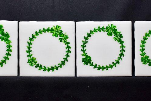 Irish 4 leaf coasters - white front view