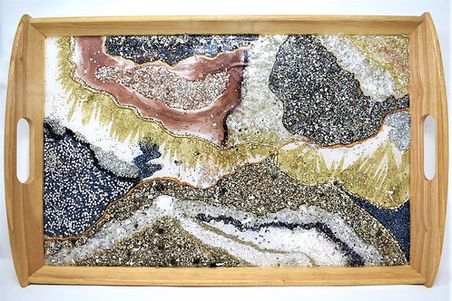 Resin Geode Style - Serving Tray front view
