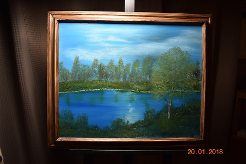 "Tranquil Mountain Lake - Oil Painting -16"" x 20"" -archival-framed -19"" x 23"""