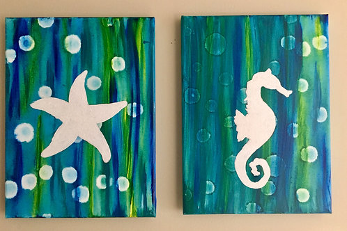 Starfish and Seahorse - 2 piece set front view