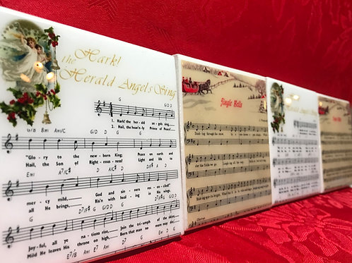 Christmas Sheet Music Coasters - Set o f 4