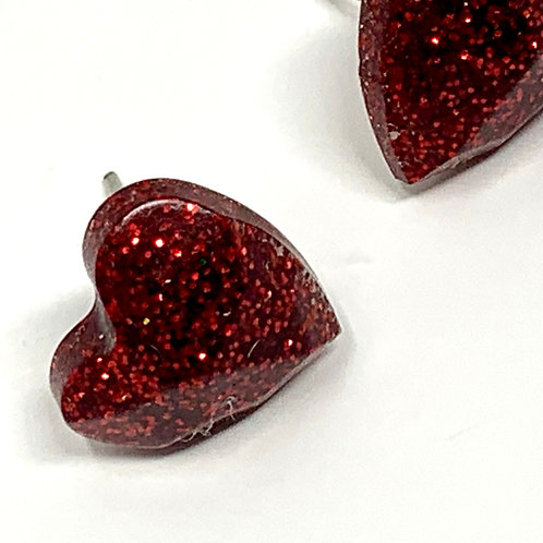 Red Heart Stud Earrings front view