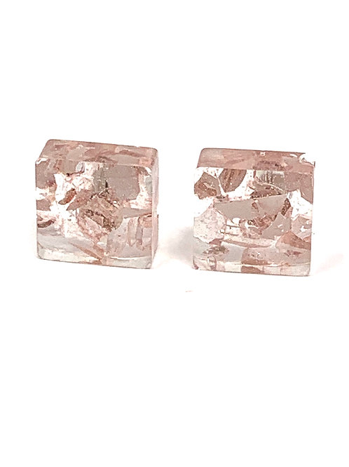 Pink glass in resin earring set front view