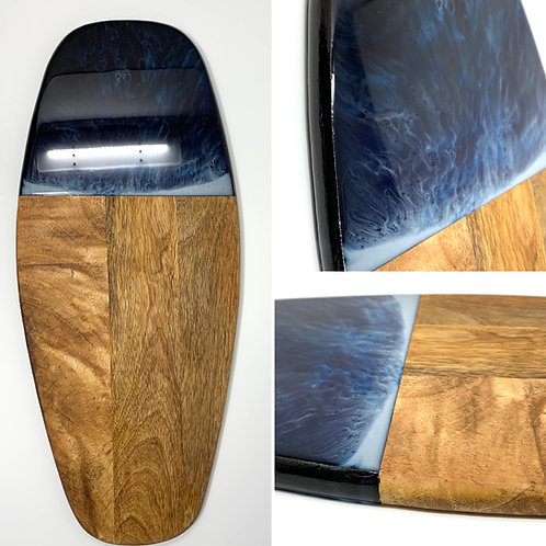 Ocean Blues #3 - Mango Wood - Surfboard  Charcuterie front view