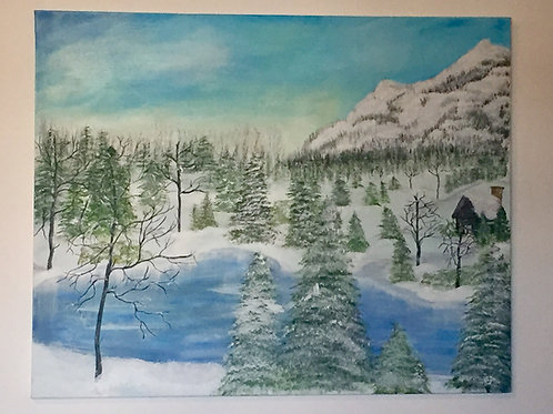 Winter Cabin -Acrylic Painting front view