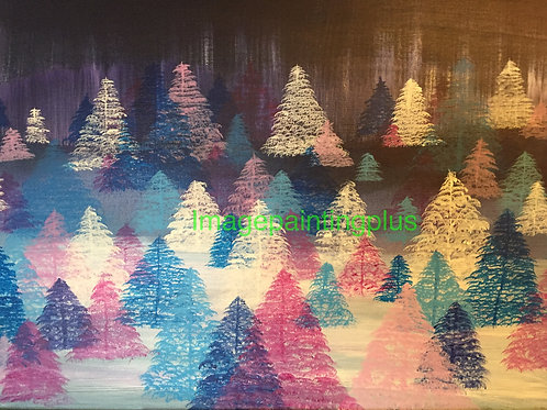 """Blue and Purple Lit Forest - Acrylic 18""""x24""""-Glossy original"""
