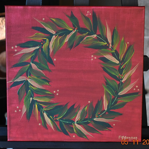 Christmas Wreath Acrylic - 12x12x1.5 inches - original - hand painted - one only