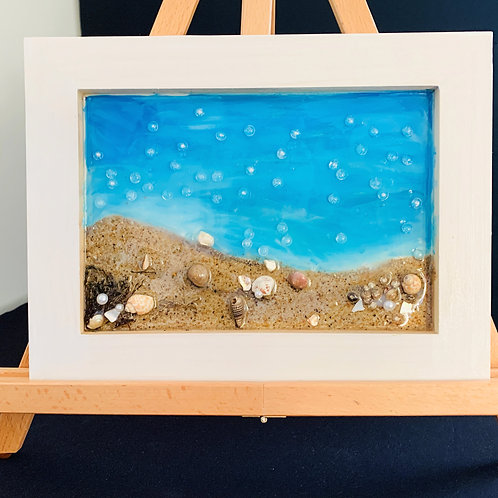 Beach Waves and Bubbles Resin art front view