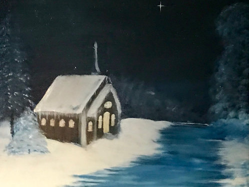 Christmas Church original oil painting Front View