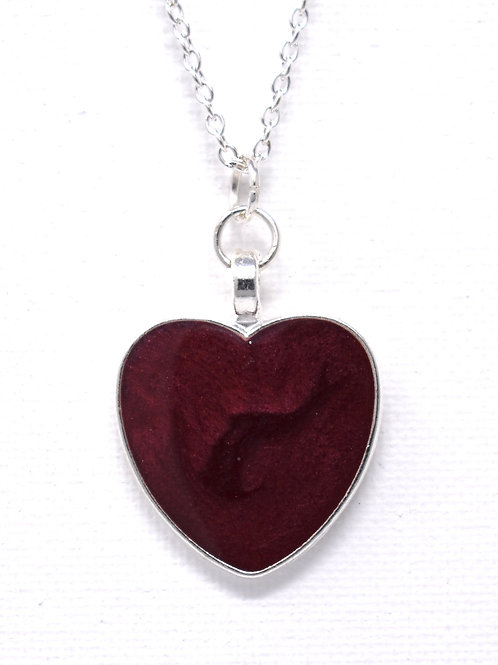 Deep Red Metallic Heart Necklace front view