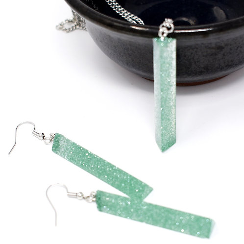 Minty Green necklace and earrings set