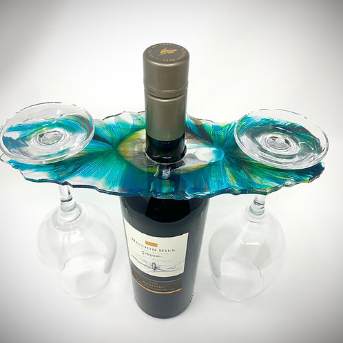 Wine Butler - Teal, Black, Gold, White and Clear front view