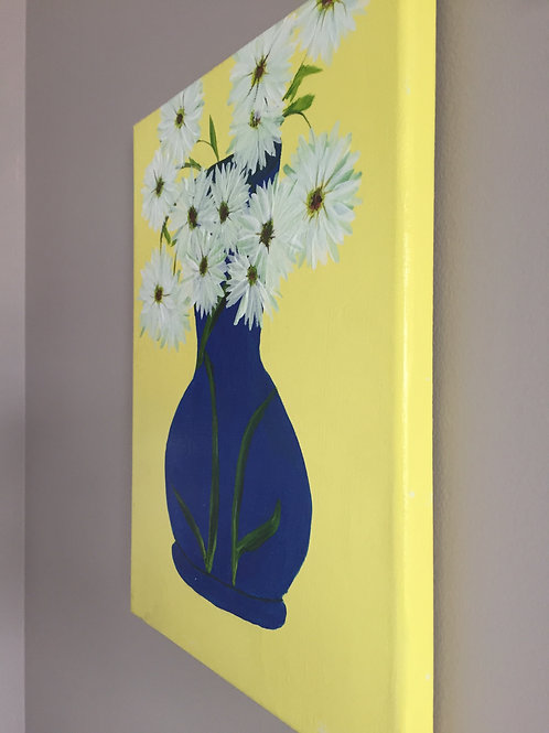 Daisies in Blue Vase Front view