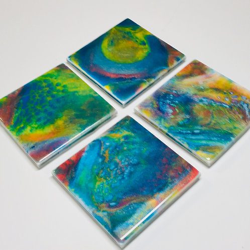 Colour Vibes Ceramic Coasters front view