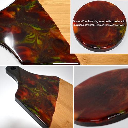 Vibrant Flames - Bamboo Charcuterie Board - free bottle coaster